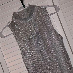 NWT Club L dress dress small silver glitter foil